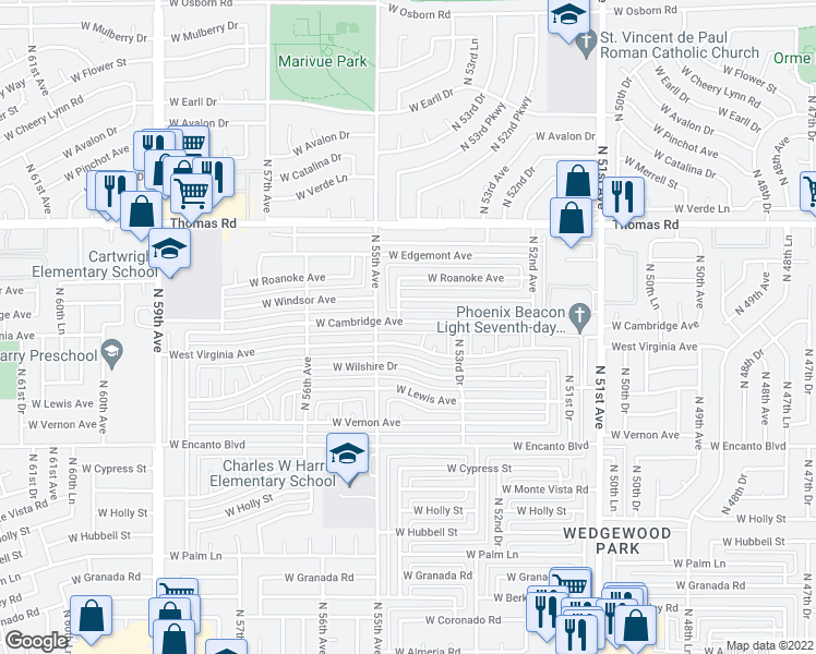 map of restaurants, bars, coffee shops, grocery stores, and more near 5437 West Cambridge Avenue in Phoenix
