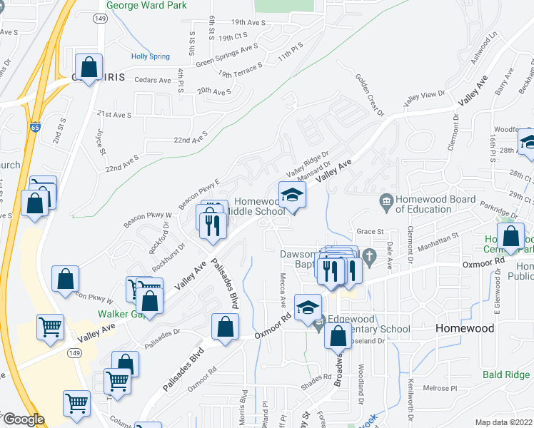 map of restaurants, bars, coffee shops, grocery stores, and more near 382-384 Mecca Avenue in Homewood
