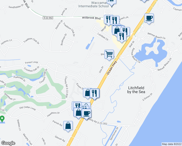 map of restaurants, bars, coffee shops, grocery stores, and more near 5 Ashcraft Circle in Pawleys Island