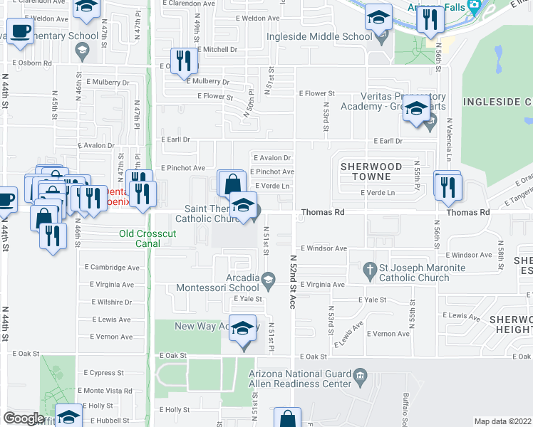 map of restaurants, bars, coffee shops, grocery stores, and more near 5104 East Thomas Road in Phoenix