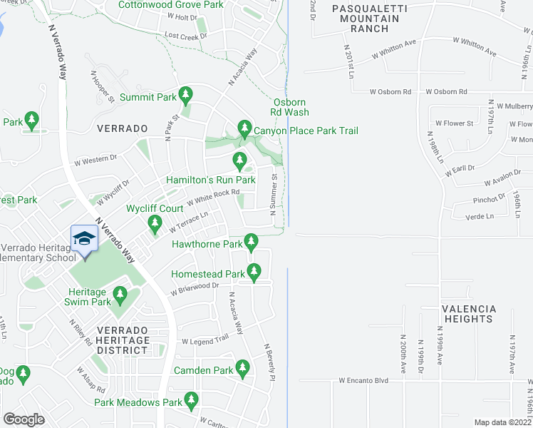 map of restaurants, bars, coffee shops, grocery stores, and more near 20385 West Terrace Lane in Buckeye