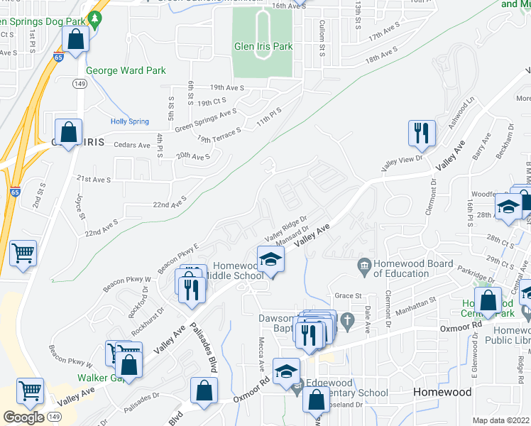 map of restaurants, bars, coffee shops, grocery stores, and more near 1229 Beacon Parkway East in Birmingham