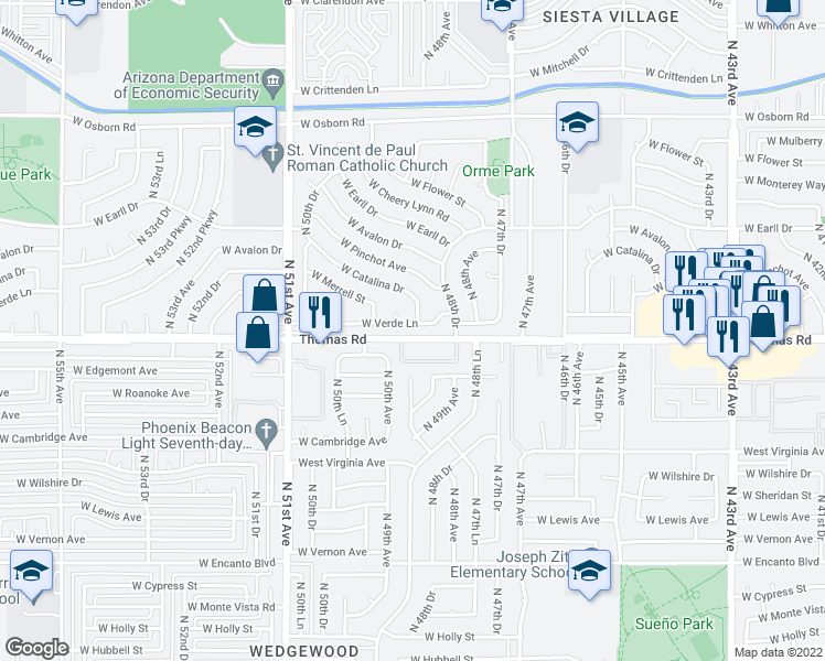 map of restaurants, bars, coffee shops, grocery stores, and more near 4847 West Verde Lane in Phoenix