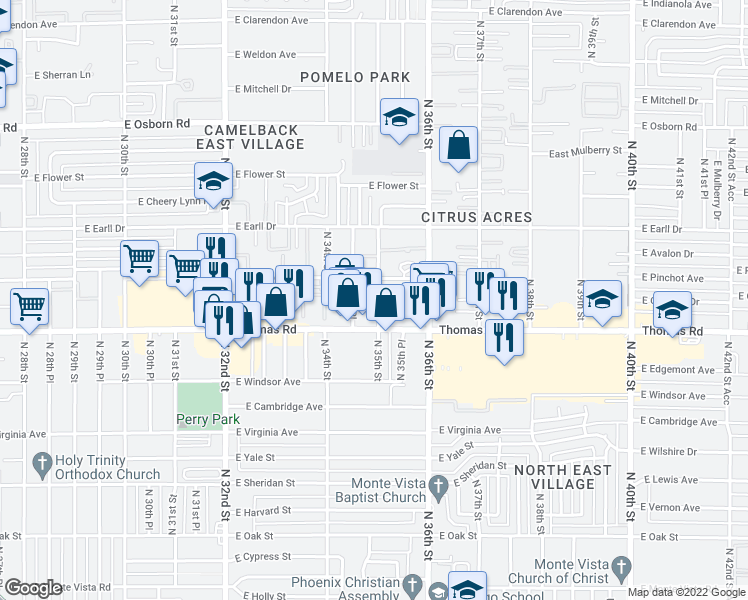 map of restaurants, bars, coffee shops, grocery stores, and more near 2922 North 35th Street in Phoenix