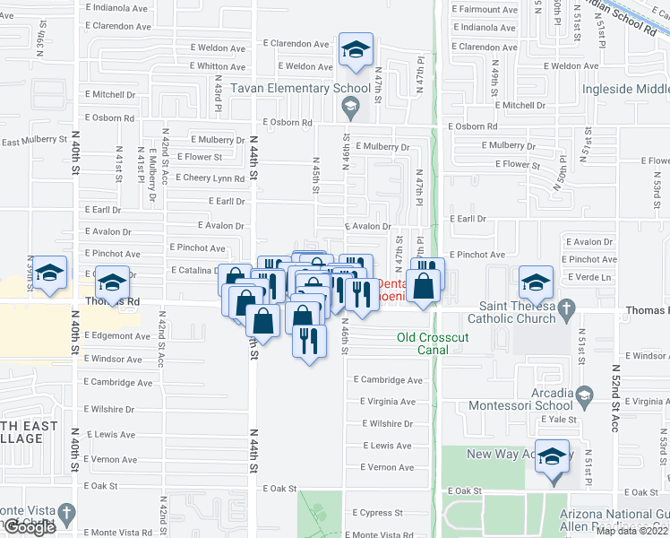 map of restaurants, bars, coffee shops, grocery stores, and more near 2950 North 46th Street in Phoenix
