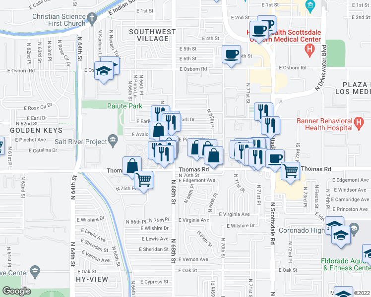 map of restaurants, bars, coffee shops, grocery stores, and more near 2935 North 68th Street in Scottsdale