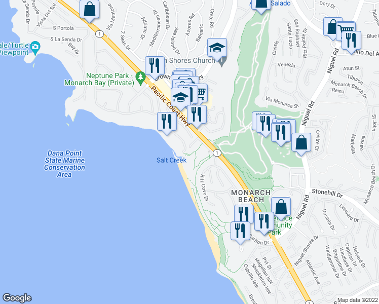 map of restaurants, bars, coffee shops, grocery stores, and more near 6 Monarch Cove in Dana Point