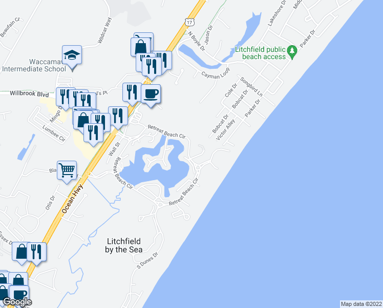 map of restaurants, bars, coffee shops, grocery stores, and more near 13 Compass Court in Pawleys Island