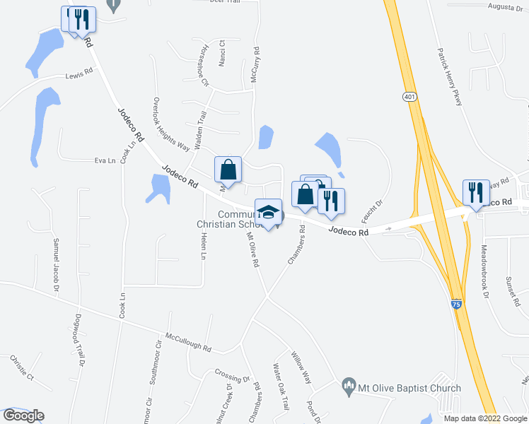 map of restaurants, bars, coffee shops, grocery stores, and more near 525 Plantation Cove in Stockbridge