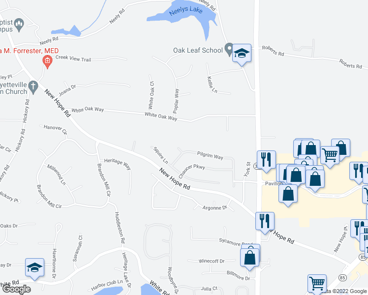 map of restaurants, bars, coffee shops, grocery stores, and more near 105 Miller Lane in Fayetteville