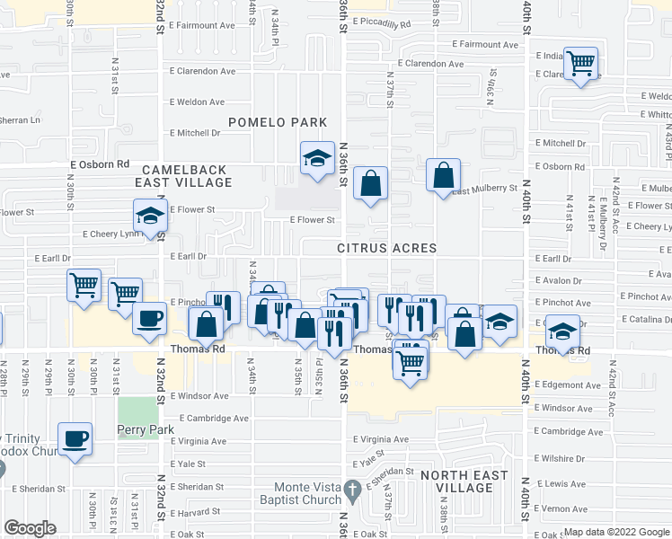 map of restaurants, bars, coffee shops, grocery stores, and more near 3040 North 36th Street in Phoenix