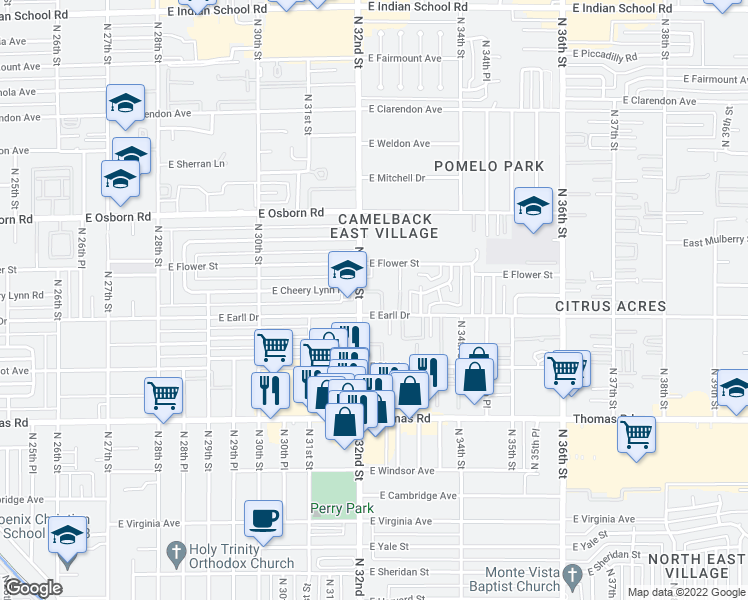 map of restaurants, bars, coffee shops, grocery stores, and more near 3101 North 32nd Street in Phoenix