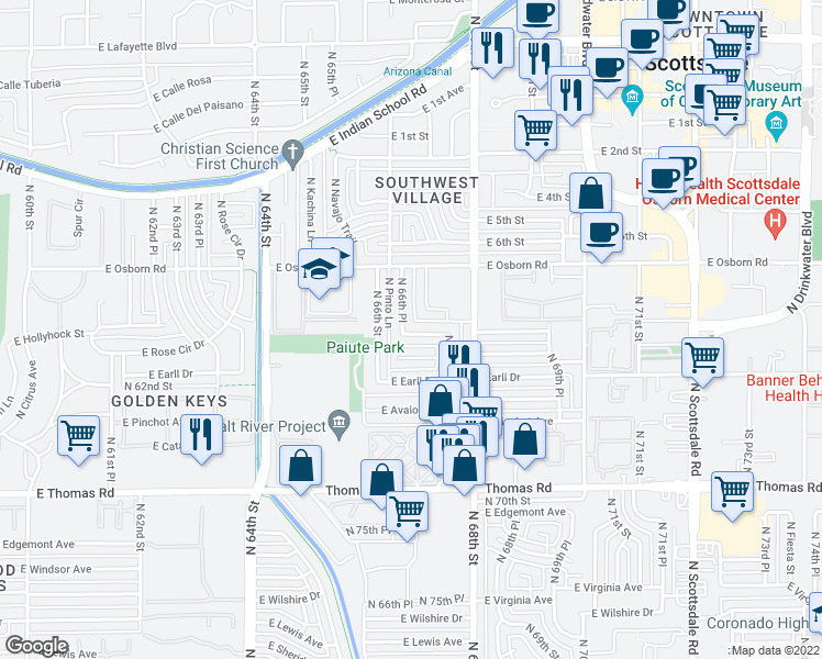 map of restaurants, bars, coffee shops, grocery stores, and more near 3231 North 66th Place in Scottsdale