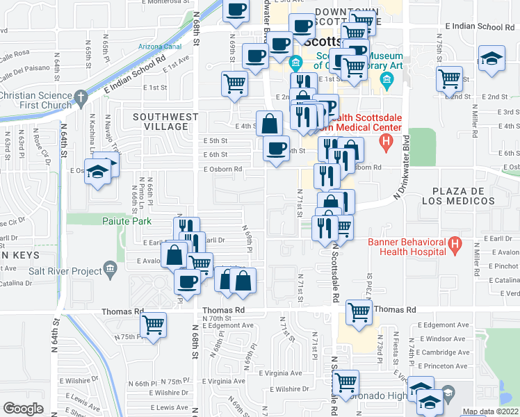 map of restaurants, bars, coffee shops, grocery stores, and more near 3214 North 70th Street in Scottsdale