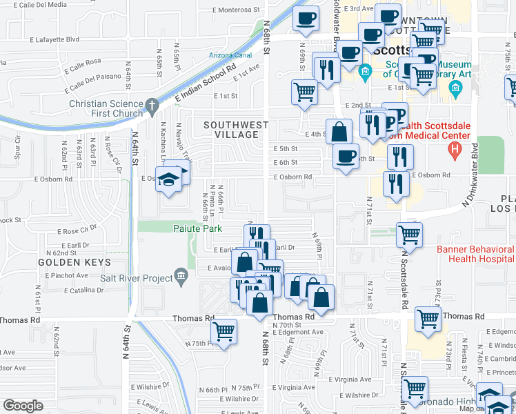 map of restaurants, bars, coffee shops, grocery stores, and more near 6800-6834 Apartment in Scottsdale