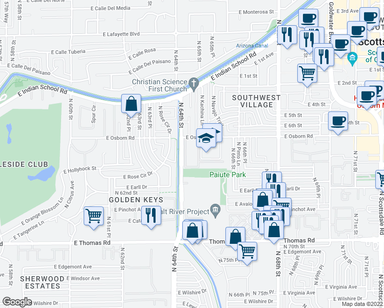 map of restaurants, bars, coffee shops, grocery stores, and more near 6505-6509 East Osborn Road in Scottsdale