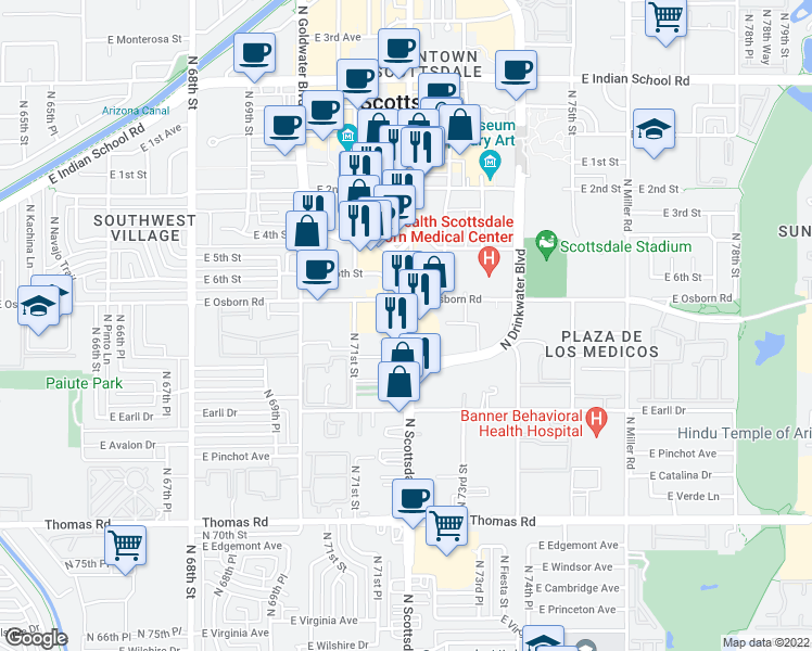 map of restaurants, bars, coffee shops, grocery stores, and more near 7199 East Osborn Road in Scottsdale