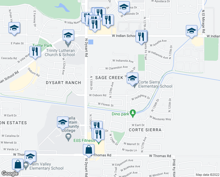map of restaurants, bars, coffee shops, grocery stores, and more near 12907 W Crittenden Ln in Avondale