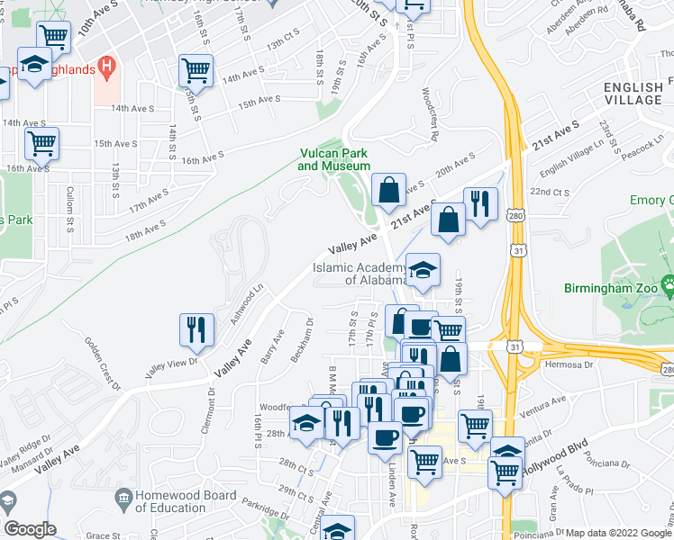 map of restaurants, bars, coffee shops, grocery stores, and more near 2106 Hillside Circle in Homewood