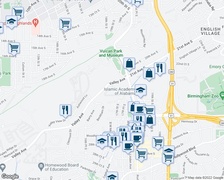map of restaurants, bars, coffee shops, grocery stores, and more near 101 Moretti Circle in Homewood