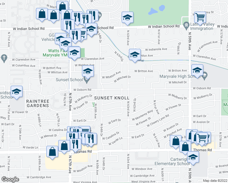map of restaurants, bars, coffee shops, grocery stores, and more near 6401 West Osborn Road in Phoenix
