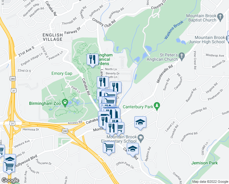 map of restaurants, bars, coffee shops, grocery stores, and more near 1000 Parke Lane Court North in Mountain Brook