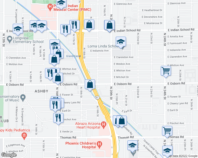 map of restaurants, bars, coffee shops, grocery stores, and more near 1903 East Mitchell Drive in Phoenix
