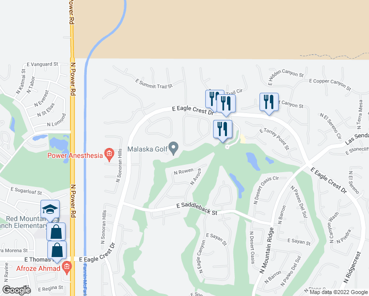 map of restaurants, bars, coffee shops, grocery stores, and more near 7445 East Eagle Crest Drive in Mesa