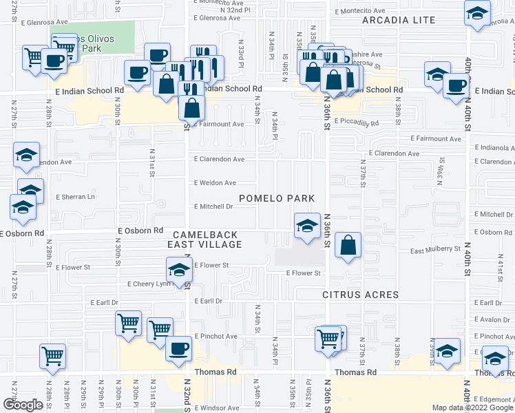 map of restaurants, bars, coffee shops, grocery stores, and more near 3430 North 34th Place in Phoenix