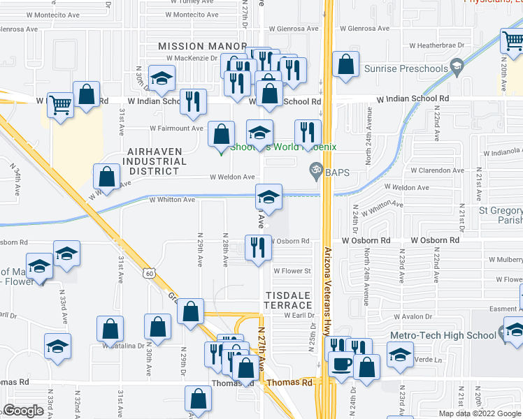map of restaurants, bars, coffee shops, grocery stores, and more near 3440 North 27th Avenue in Phoenix