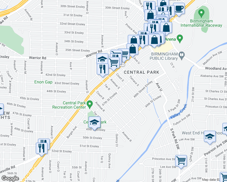 map of restaurants, bars, coffee shops, grocery stores, and more near 4641 Ter R in Birmingham