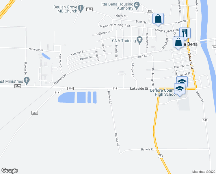 map of restaurants, bars, coffee shops, grocery stores, and more near 9601 County Road 514 in Itta Bena