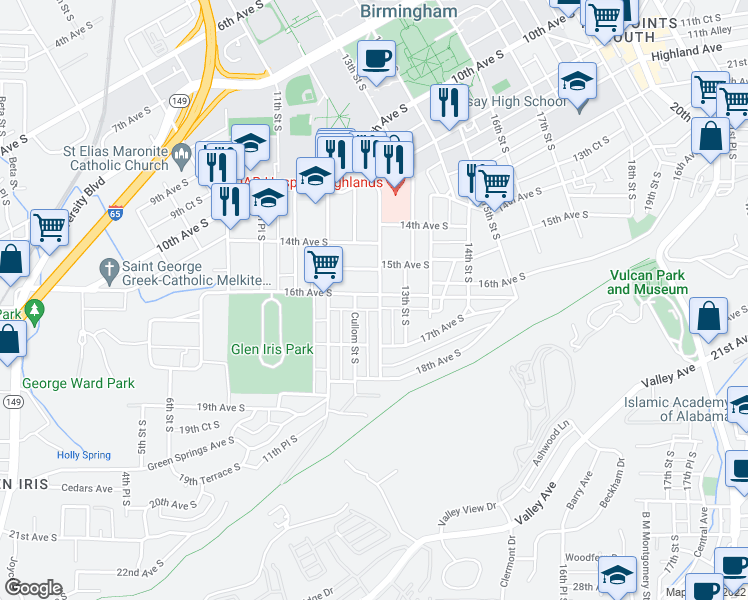 map of restaurants, bars, coffee shops, grocery stores, and more near 1171 16th Avenue South in Birmingham