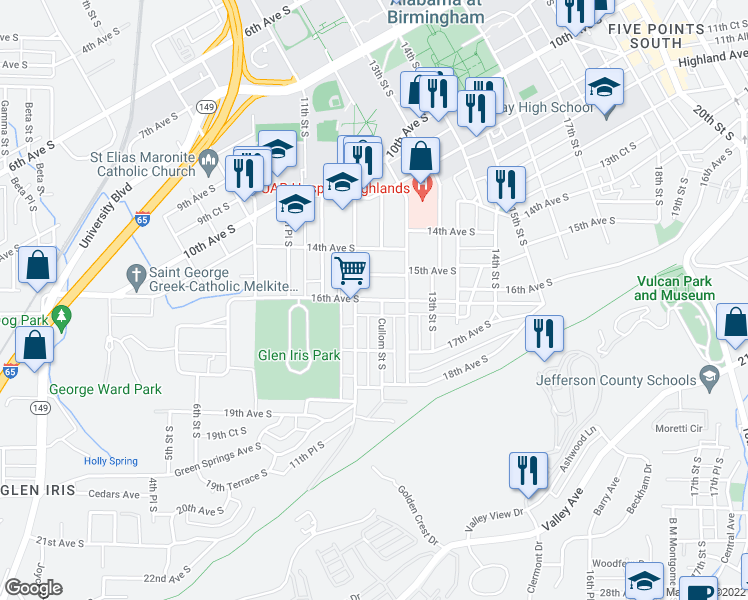 map of restaurants, bars, coffee shops, grocery stores, and more near 1603 Cullom Street South in Birmingham