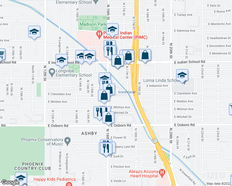 map of restaurants, bars, coffee shops, grocery stores, and more near 3815 North 16th Street in Phoenix