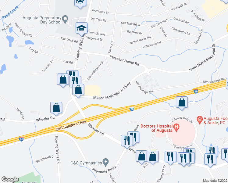 map of restaurants, bars, coffee shops, grocery stores, and more near 110 Mason McKnight Junior Parkway in Augusta