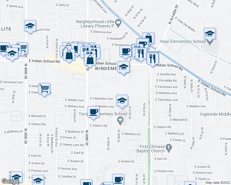 map of restaurants, bars, coffee shops, grocery stores, and more near 4401 East Indianola Avenue in Phoenix