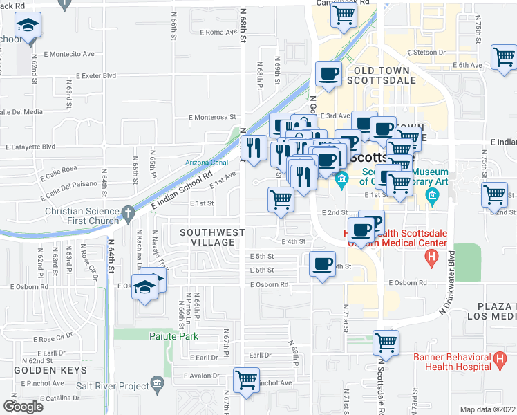 map of restaurants, bars, coffee shops, grocery stores, and more near 6824 East 2nd Street in Scottsdale