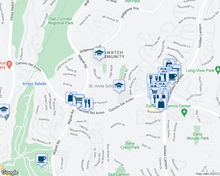 map of restaurants, bars, coffee shops, grocery stores, and more near 4 Springtide in Laguna Niguel