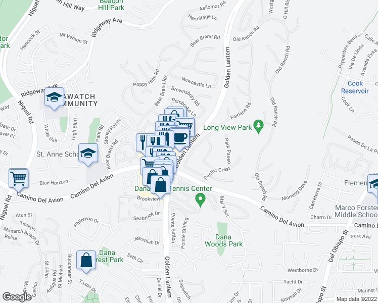 map of restaurants, bars, coffee shops, grocery stores, and more near 91 Fairlane Road in Laguna Niguel