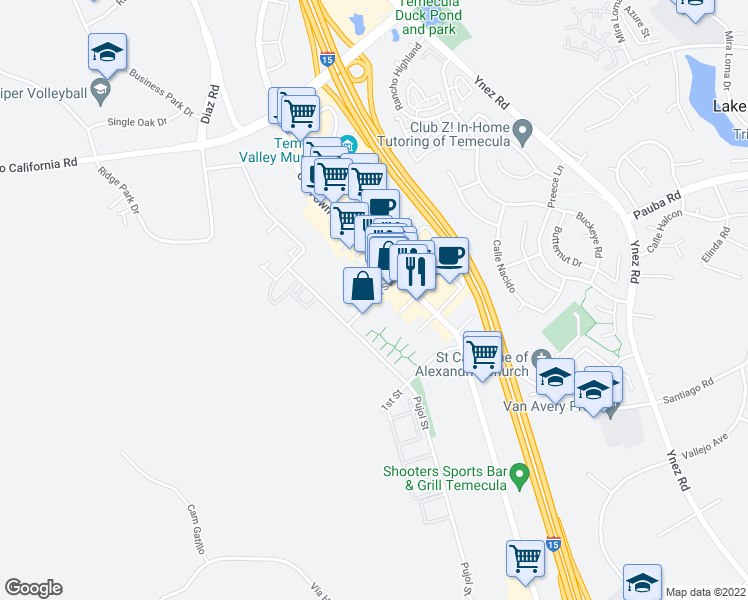 map of restaurants, bars, coffee shops, grocery stores, and more near 42200 Main Street in Temecula
