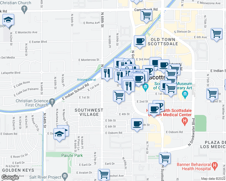 map of restaurants, bars, coffee shops, grocery stores, and more near 6811 East Main Street in Scottsdale
