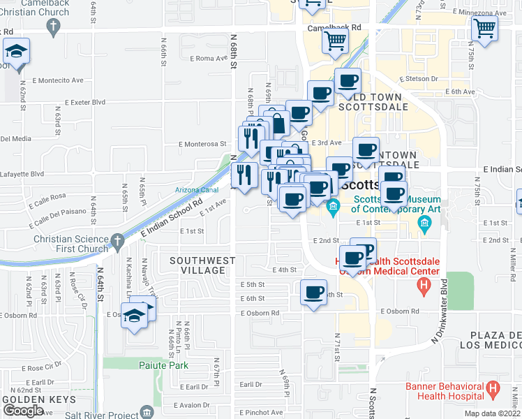 map of restaurants, bars, coffee shops, grocery stores, and more near 6833 East Main Street in Scottsdale