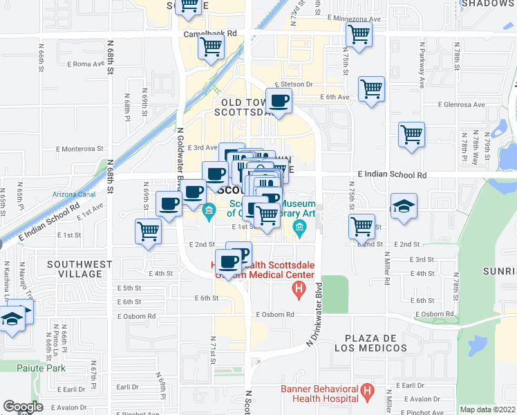 map of restaurants, bars, coffee shops, grocery stores, and more near 7242 East Main Street in Scottsdale