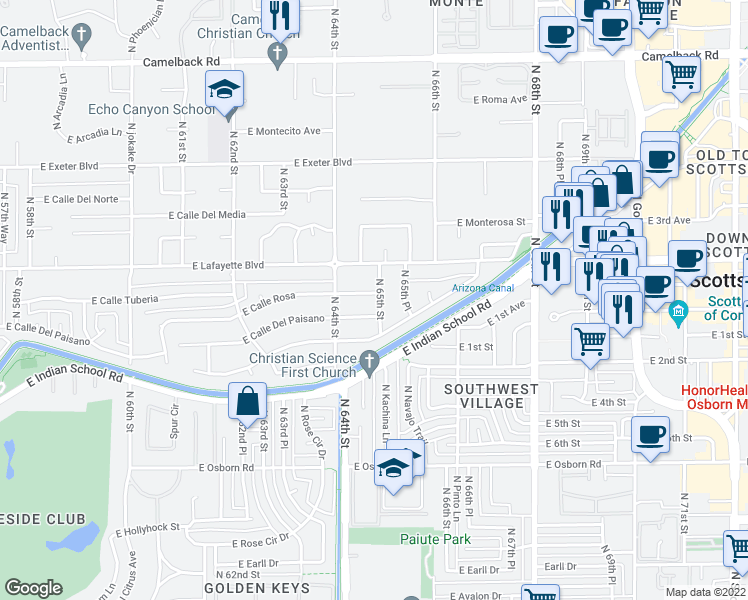 map of restaurants, bars, coffee shops, grocery stores, and more near 6431 East Calle Rosa in Scottsdale