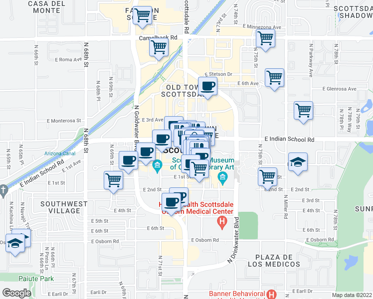 map of restaurants, bars, coffee shops, grocery stores, and more near in Scottsdale