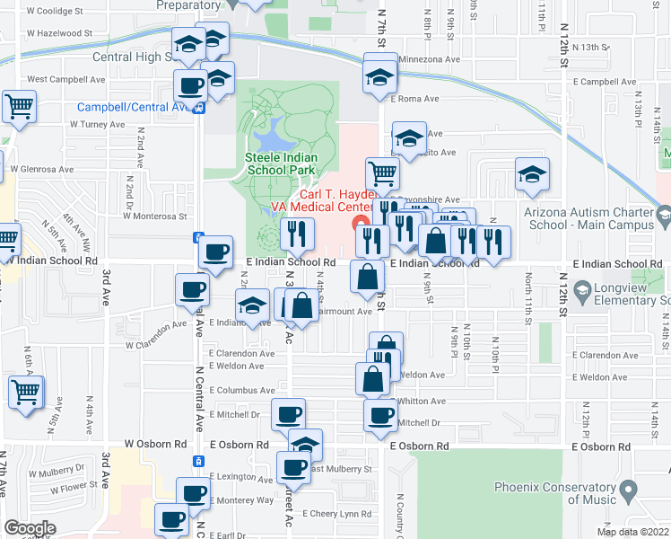 map of restaurants, bars, coffee shops, grocery stores, and more near 411 East Indian School Road in Phoenix