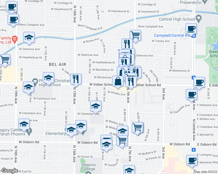 map of restaurants, bars, coffee shops, grocery stores, and more near 1007 West Indian School Road in Phoenix