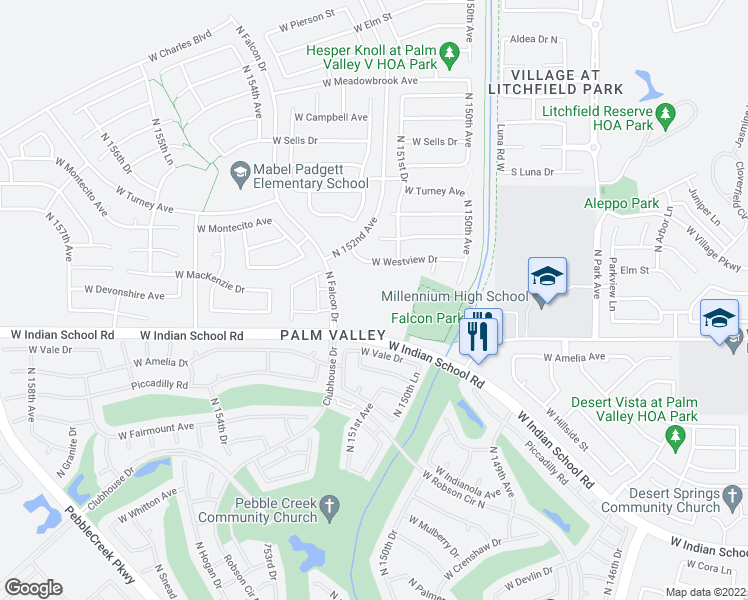 map of restaurants, bars, coffee shops, grocery stores, and more near 4195 North Falcon Drive in Goodyear