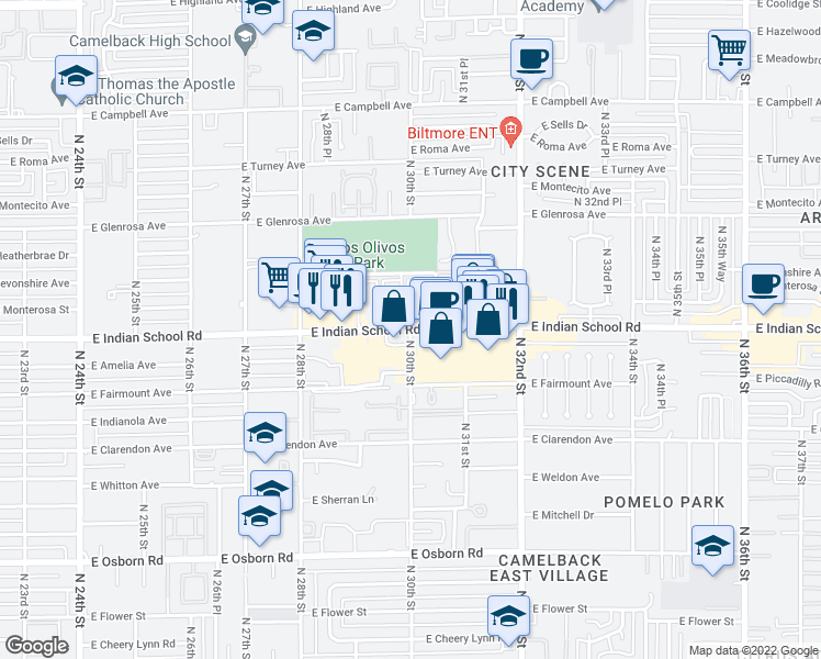 map of restaurants, bars, coffee shops, grocery stores, and more near E Indian School Rd & N 30th St in Phoenix